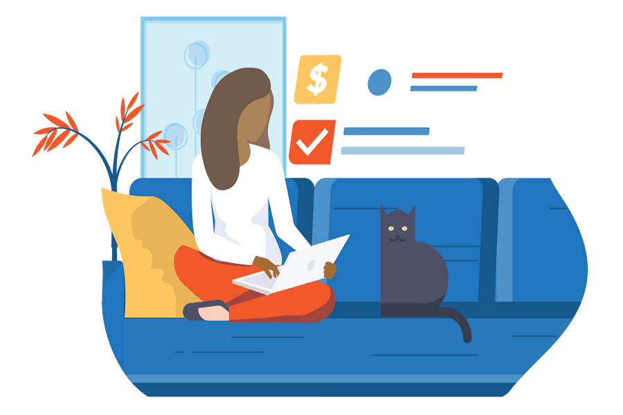 Woman on sofa with cat with finances