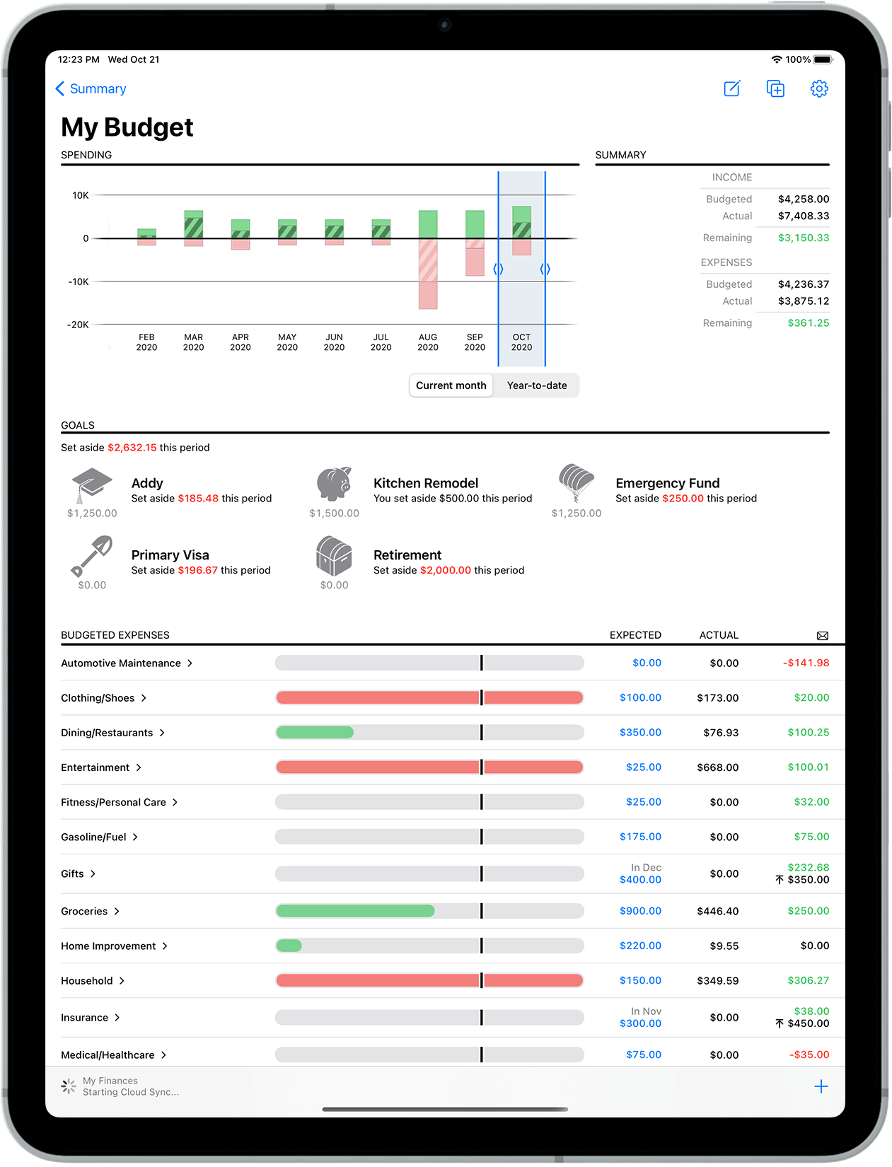 Banktivity budget screen on iPad Pro