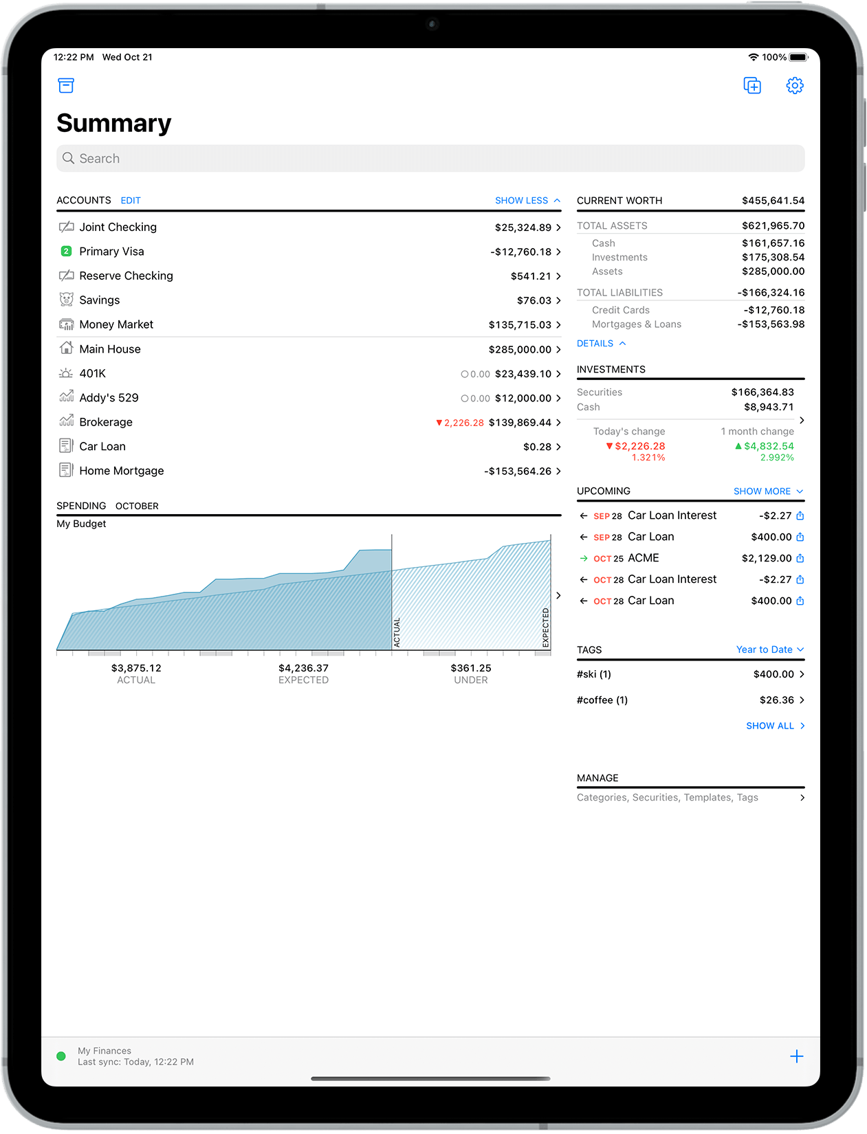 Banktivity summary screen on iPad Pro