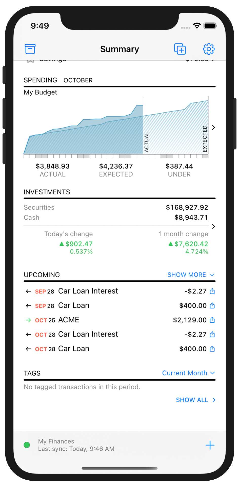 Banktivity summary screen on iPhone X